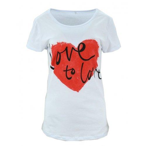 Koszulka bawełniana z napisami Love to love (biała)