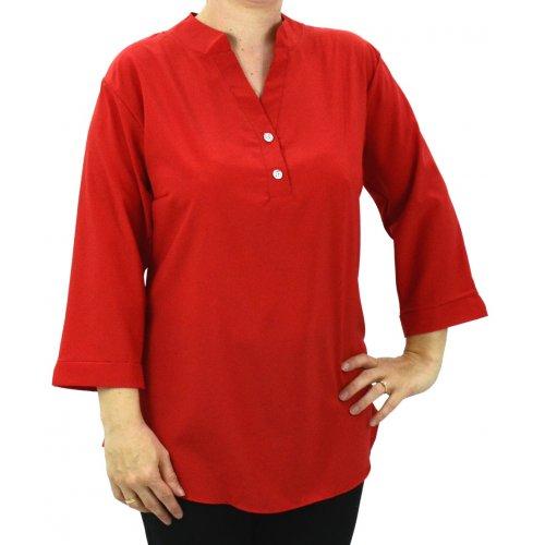 Czerwona asymetryczna bluzka na guziki