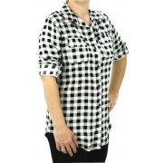 Koszula w kratę z lekkiego materiału (czarna)