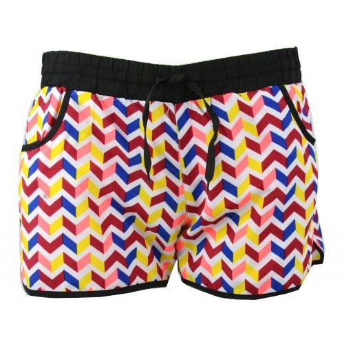 Kolorowe szorty plażowe zygzak (bordo)