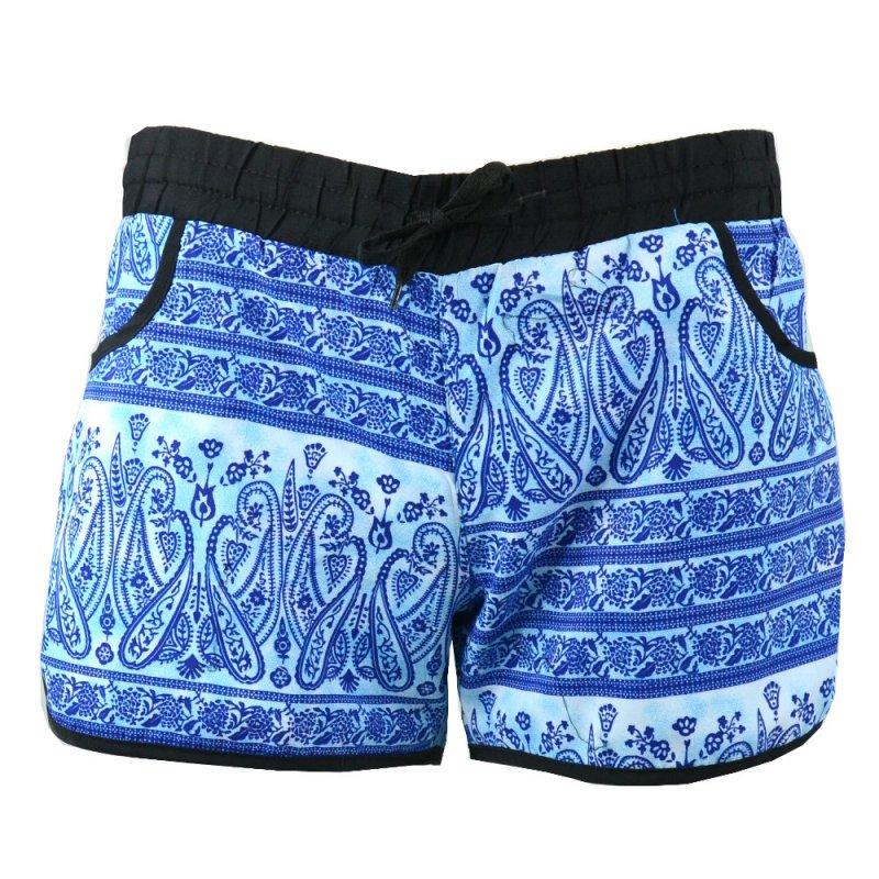 krótkie spodenki damskie szorty plażowe orient (niebieskie)