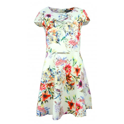 Sukienka rozkloszowana z piękne kwiaty (biała)