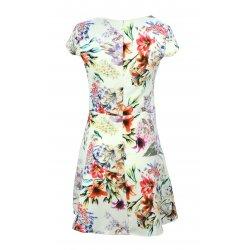 Sukienka rozkloszowana w kwiaty kwiatki (biała)
