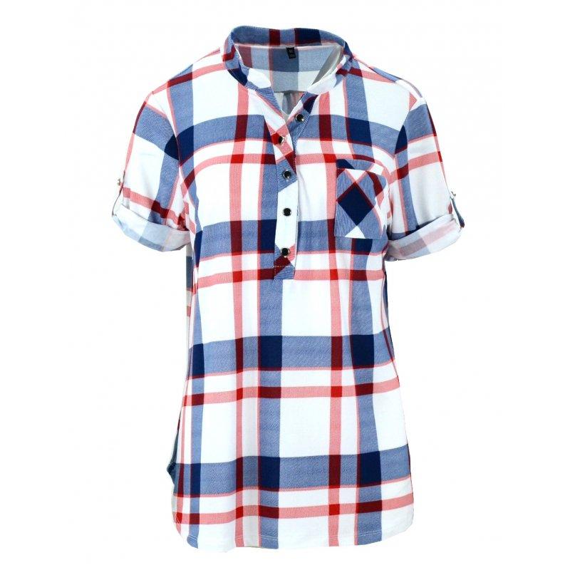 Unikalne Bluzka koszulowa w kratkę z miękkiej dzianiny DUŻY ROZMIAR ZW39