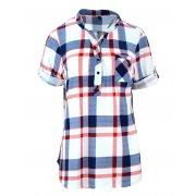 Bluzka koszulowa w kratkę z miękkiej dzianiny DUŻY ROZMIAR (czerwona)