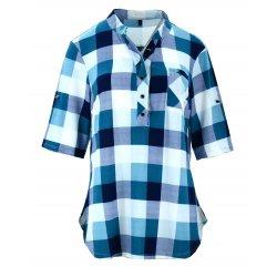 tanie bluzki koszule w kratę (turkus)