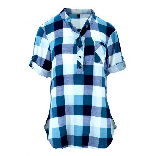 Bluzka koszulowa w kratkę z miękkiej dzianiny DUŻY ROZMIAR (turkus)