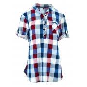 Bluzka koszulowa w kratkę z miękkiej dzianiny DUŻY ROZMIAR (granat)