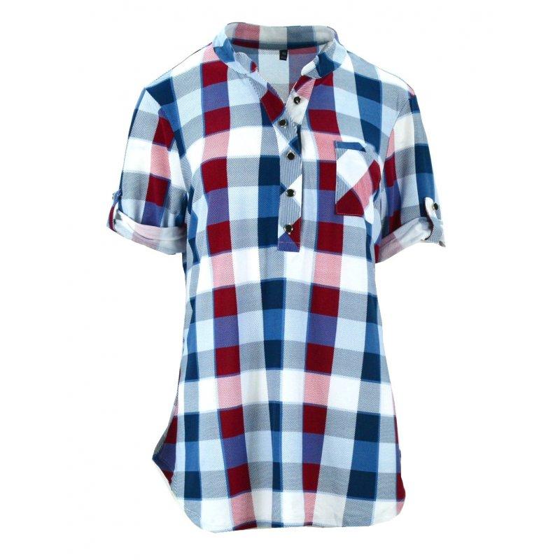 tanie bluzki koszule w kratę (granat)