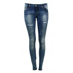 Spodnie z dziurami jeansowe damskie RURKI Z DZIURAMI
