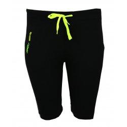 spodenki damskie sportowe dresowe z kieszonką (czarne+ żółty) rybaczki