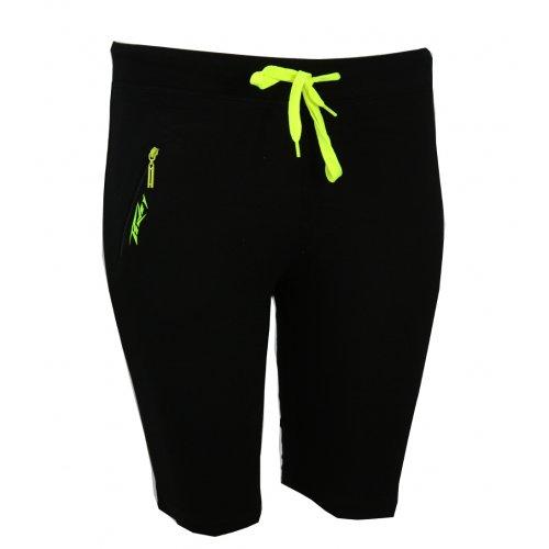 Sportowe spodenki dresowe z kieszonką (czarne+ żółty)