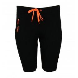 spodenki damskie sportowe dresowe z kieszonką (czarne+ pomarańczowy))