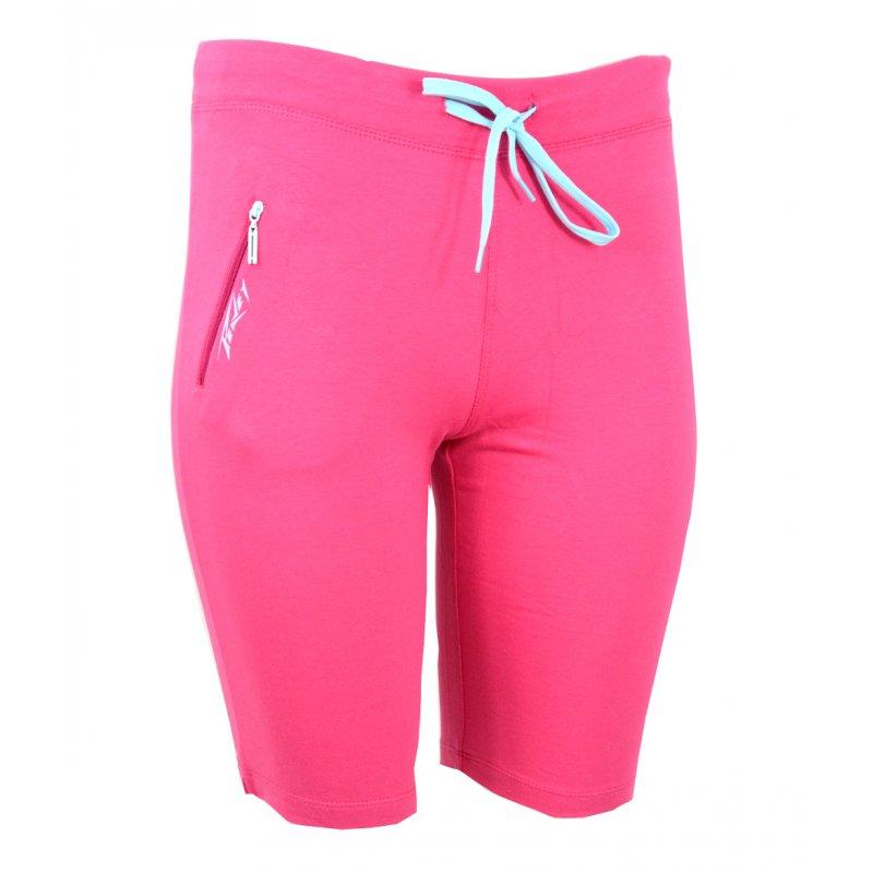 spodenki damskie dresowe sportowe z kieszonką (różowe+niebieski)