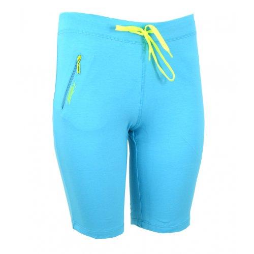 spodenki damskie dresowe sportowe z kieszonką (turkus+żółty)