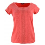 Koszulka z bawełny z koronką i haftem (malinowa)