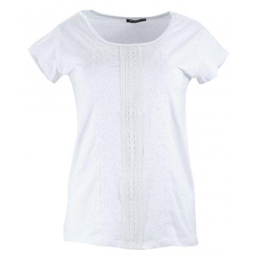 Koszulka z bawełny z koronką i haftem (biała)