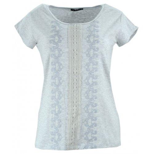 Koszulka z bawełny z koronką i haftem (szara)