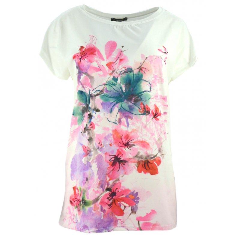 Bluzka koszulowa damska w kwiaty (ecru)
