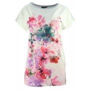 Elegancka bluzka koszulowa z namalowanymi kwiatami (szara)