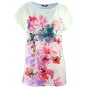 Elegancka bluzka koszulowa z namalowanymi kwiatami (biała)