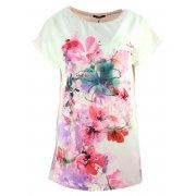 Elegancka bluzka koszulowa z namalowanymi kwiatami (różowa)
