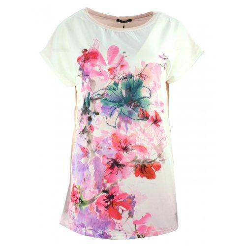 Bluzka koszulowa damska w kwiaty (różowa)