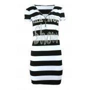 Sukienka tunika w paski z dżetowym napisem (czarna)