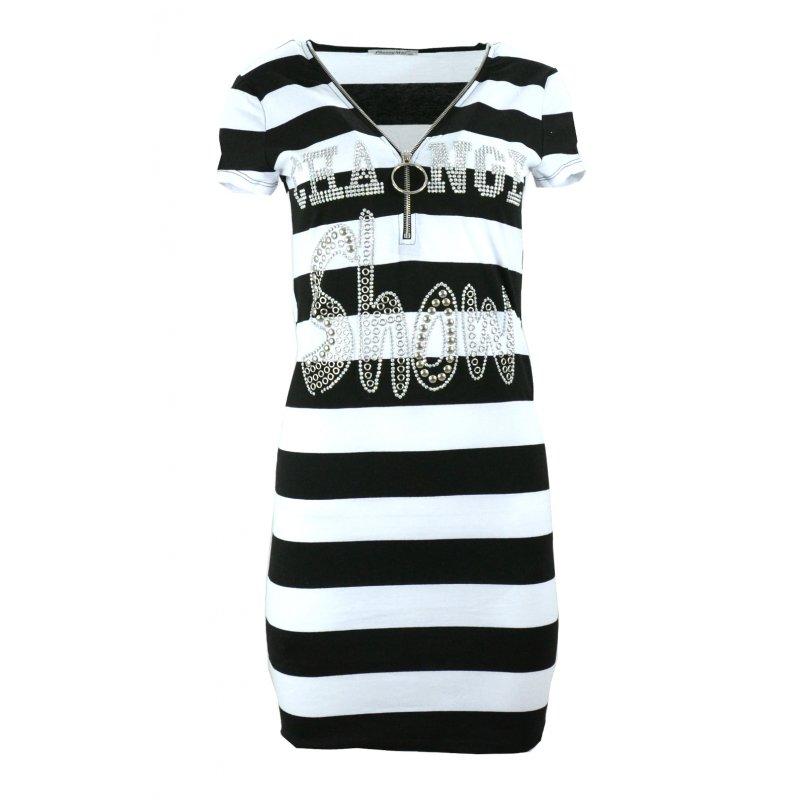 Sukienka plażowa tunika plażowa w paski z dżetowym napisem (czarna)