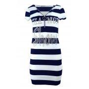 Sukienka tunika w paski z dżetowym napisem (granatowa)
