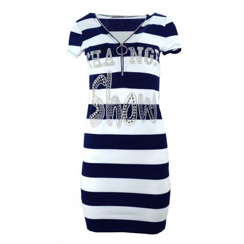 Sukienka plażowa tunika plażowa w paski z dżetowym napisem (granatowa)