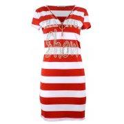 Sukienka tunika w paski z dżetowym napisem (czerwona)