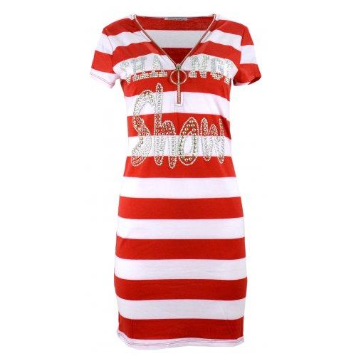 Sukienka w pasy tunika damska w paski z dżetowym napisem (czerwona)