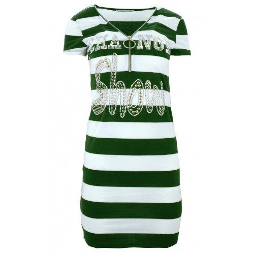 Sukienka w pasy tunika damska w paski z dżetowym napisem (zielona)