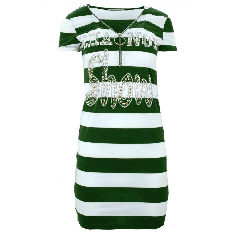 Sukienka plażowa tunika plażowa w paski z dżetowym napisem (zielona)