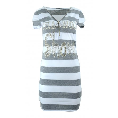 Sukienka tunika w paski z dżetowym napisem (j. szara)