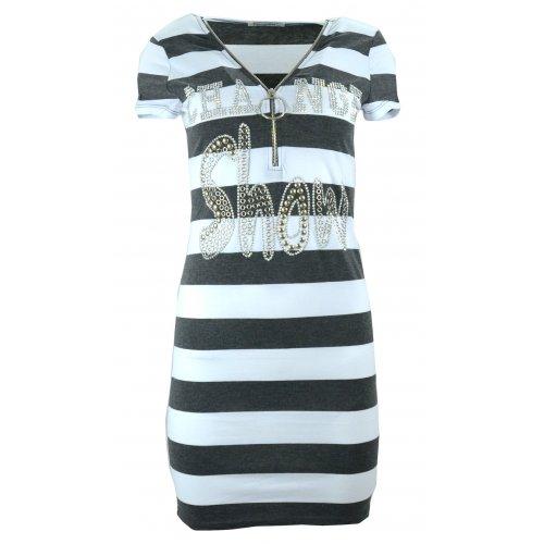 Sukienka tunika w paski z dżetowym napisem (c. szara)