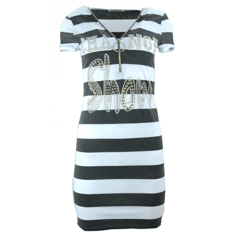 Sukienka w pasy tunika damska w paski z dżetowym napisem (c. szara)