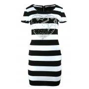 Sukienka tunika w paski z dżetowym sercem (czarna)