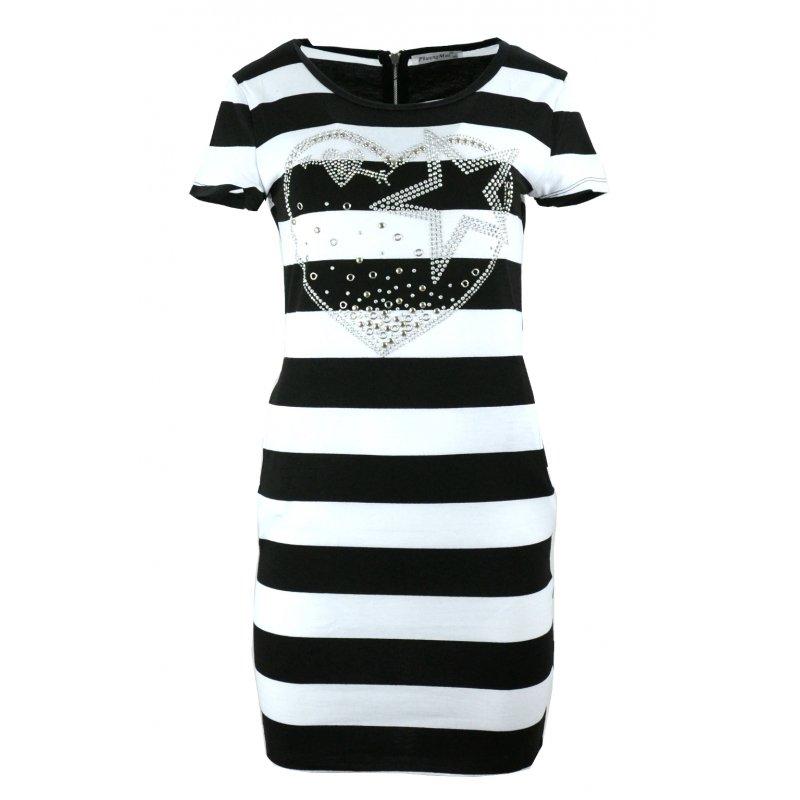 Sukienka w pasy tunika damska w paski z dżetowym sercem (czarna)