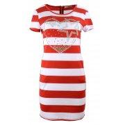 Sukienka tunika w paski z dżetowym sercem (czerwona)