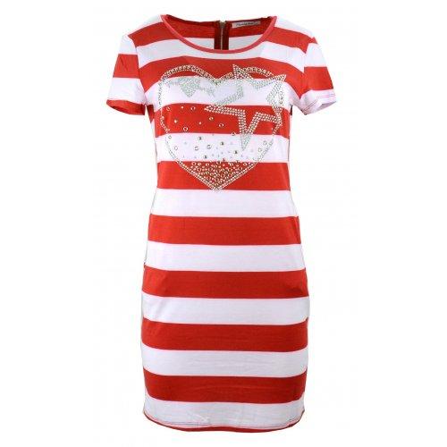 Sukienka w paski tunika damska w paski z dżetowym sercem (czerwona)