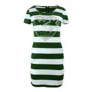 Sukienka tunika w paski z dżetowym sercem (zielona)