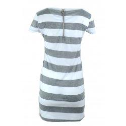 Sukienka w pasy tunika damska w paski z dżetowym sercem (j. szara)
