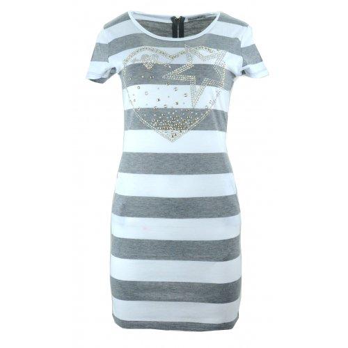 Sukienka tunika w paski z dżetowym sercem (j. szara)