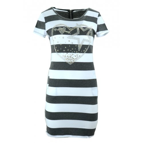 Sukienka w paski tunika damska w paski z dżetowym sercem (c. szara)