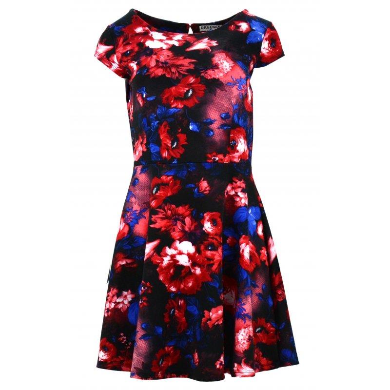 Sukienka w kwiaty (niebiesko czerwona)