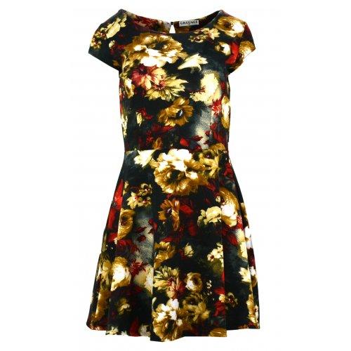 Sukienka w kwiaty (brązowo czerwona)