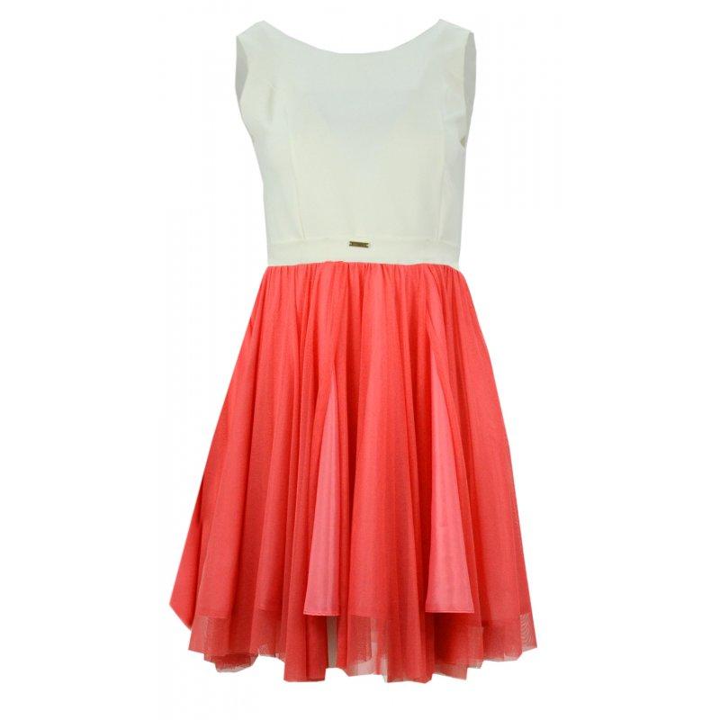 Sukienka z tiulem (koral)