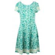 Sukienka wzorzysta z koronką (turkusowa)